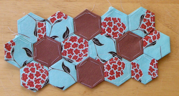 hexagon pincushion wip
