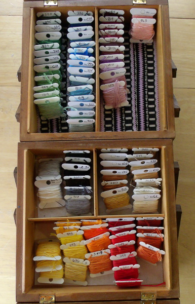 embroidery floss, all organized