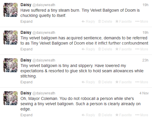 Tiny Velvet Ballgown of Doom tweets