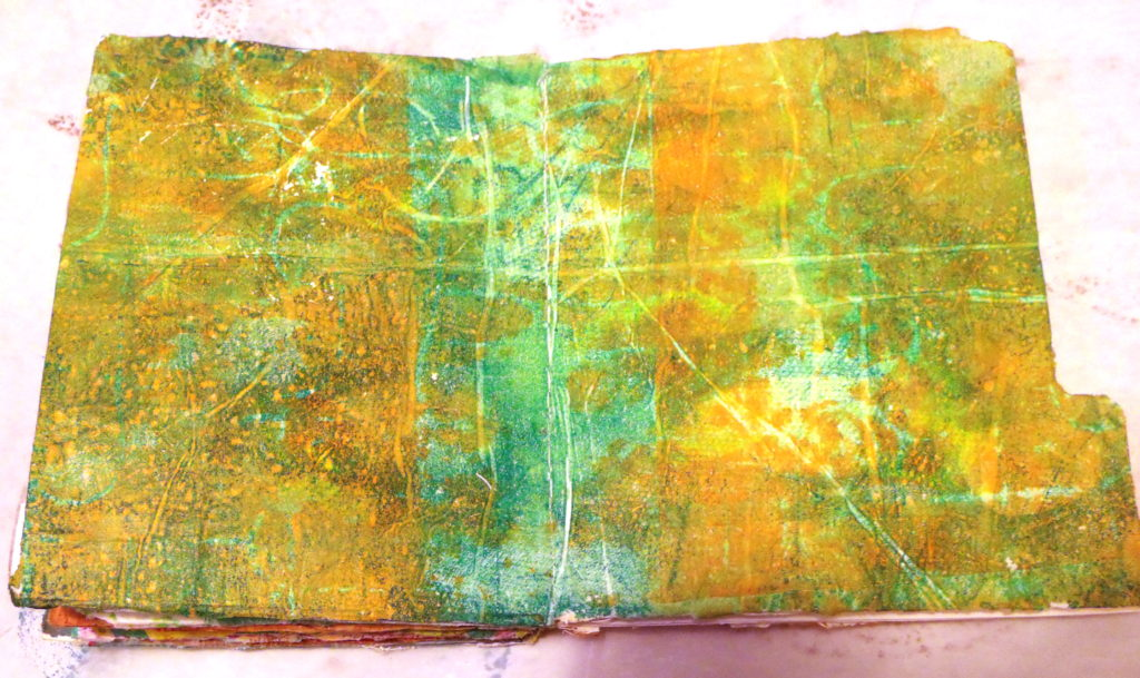 100DayProject, days 5-15 - monoprint background in manila folder book