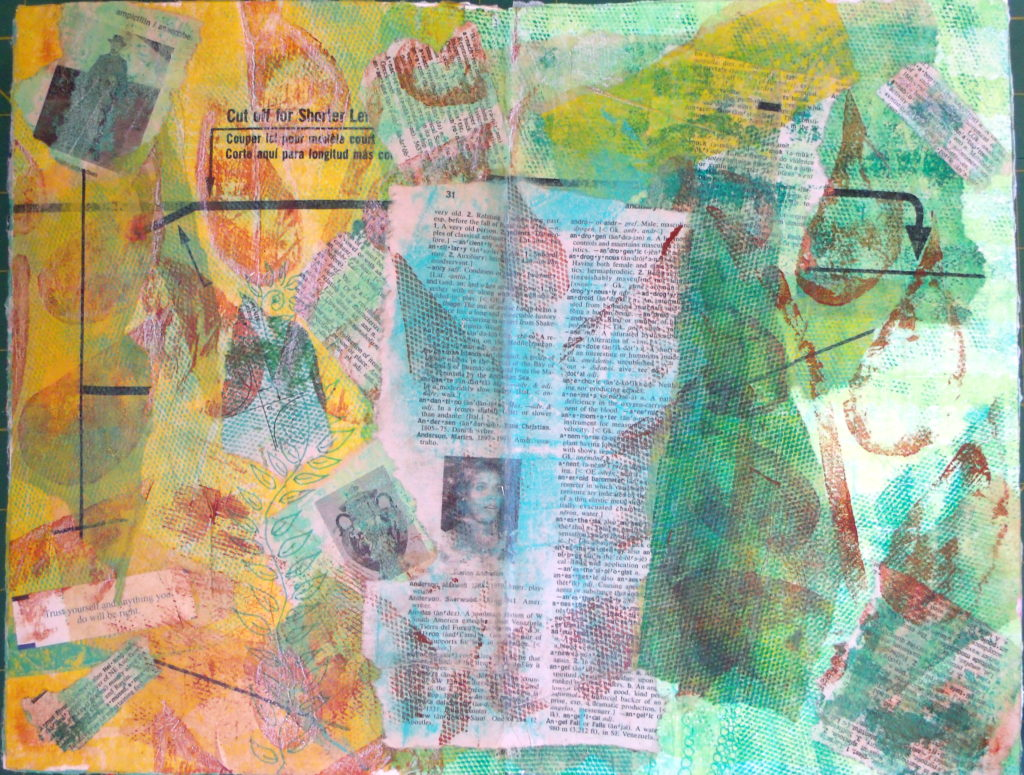 100DayProject, days 5-15 - collage in art journal