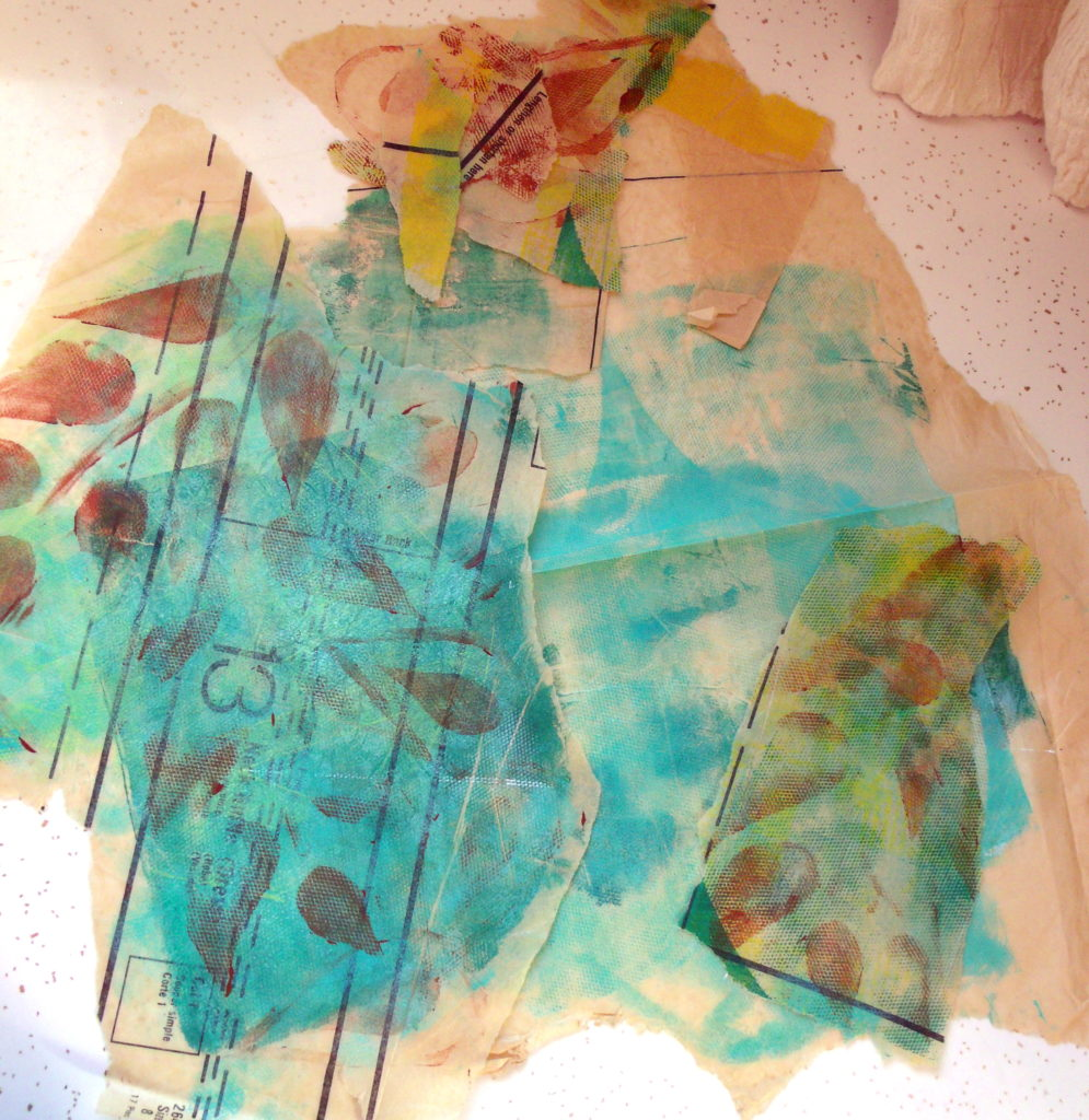 100DayProject, days 5-15, monoprinted sewing pattern tissue