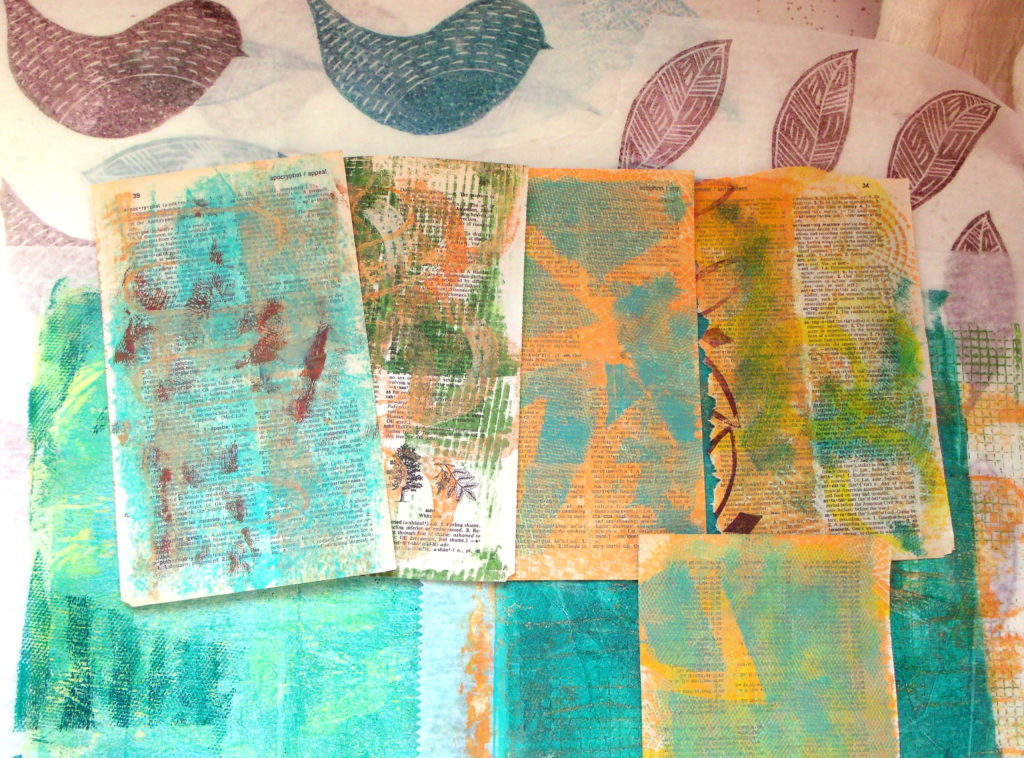 100DayProject, days 5-15, monoprinted dictionary pages and deli paper
