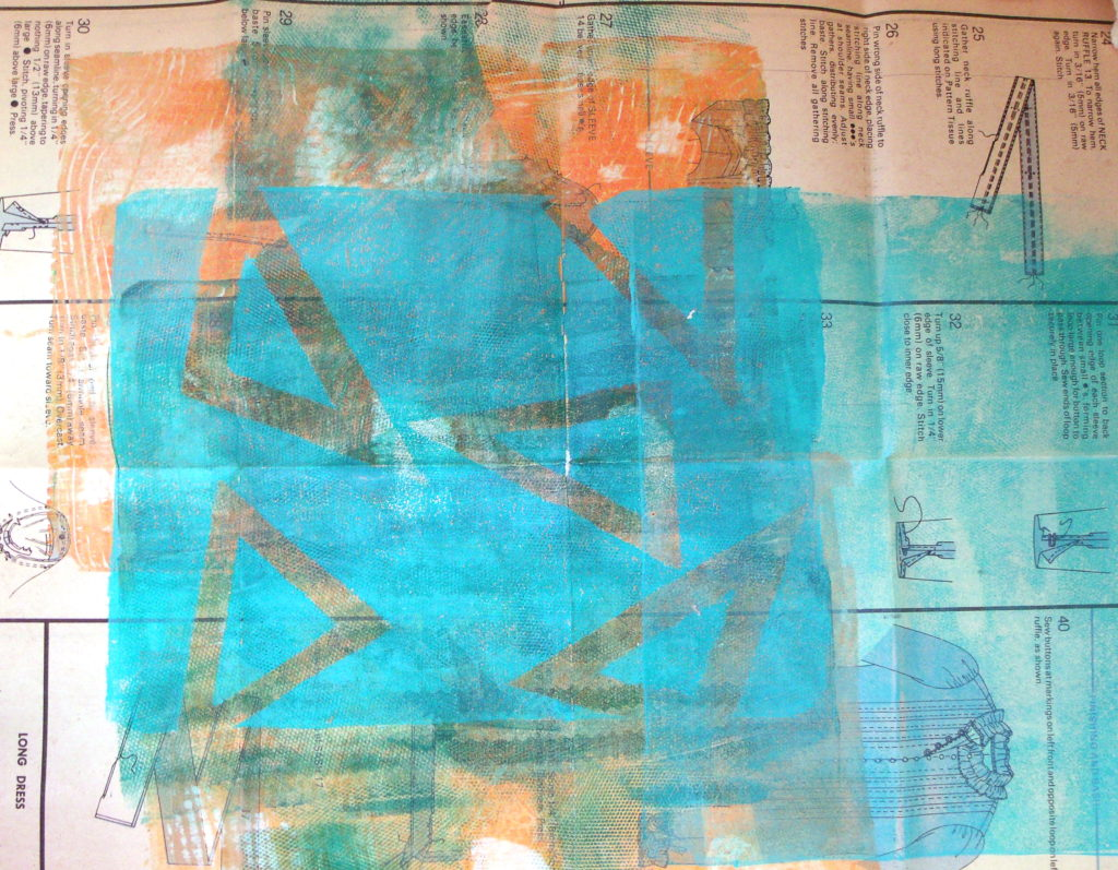 100DayProject, days 5-15, monoprint over sewing pattern instruction sheet