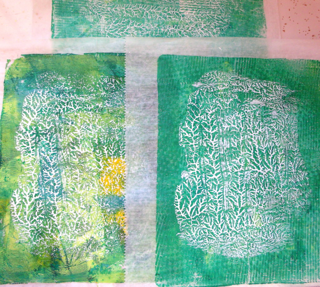 100DayProject, days 5-15 - dendritic monoprints, white acrylic paint over previously monoprinted deli paper