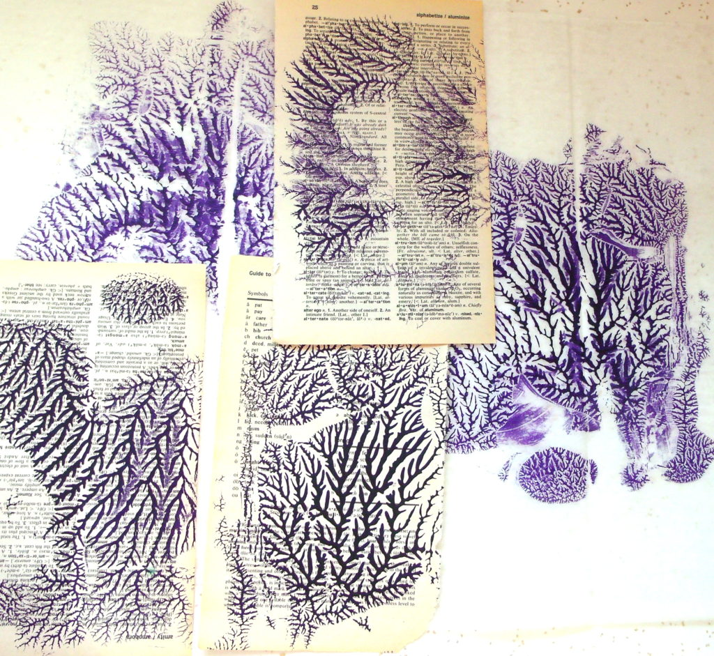 100DayProject, days 5-15 - dendritic monoprints, dioxazine purple acrylic on dictionary pages and deli paper