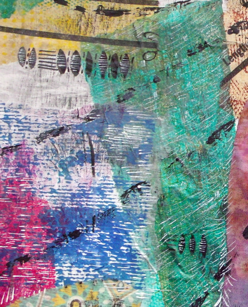 Mixed-media collage detail