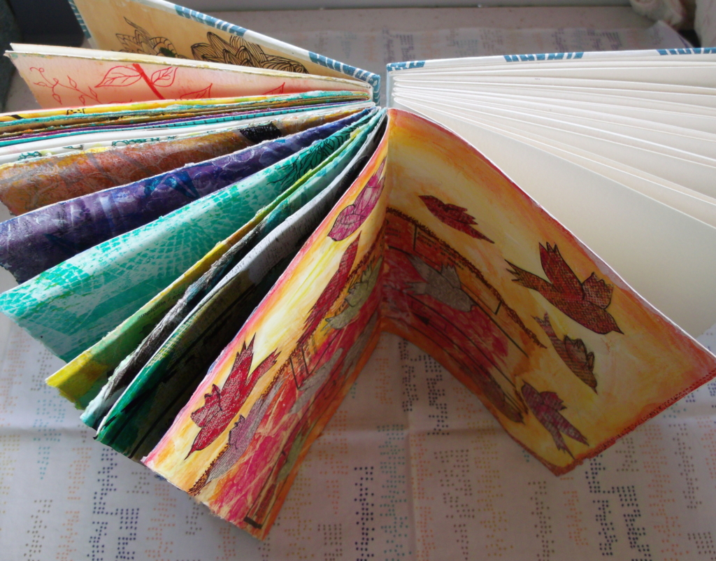 Coptic-stitch handbound art journal, half filled