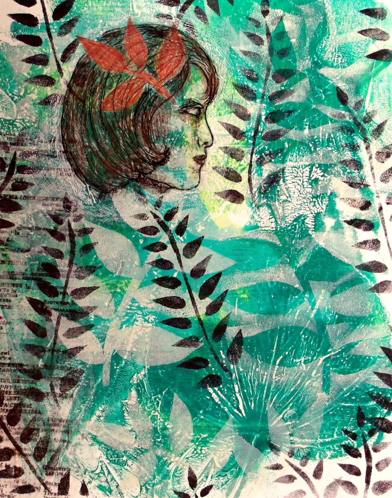 Leaf prints & hand-cut stencils - 100 Day Project, days 31-35