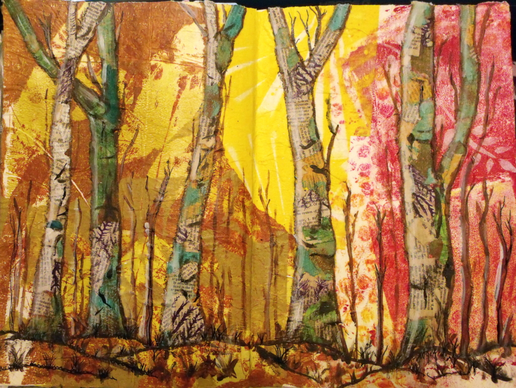 Trees - torn paper collage - 100 Day Project, days 39-45