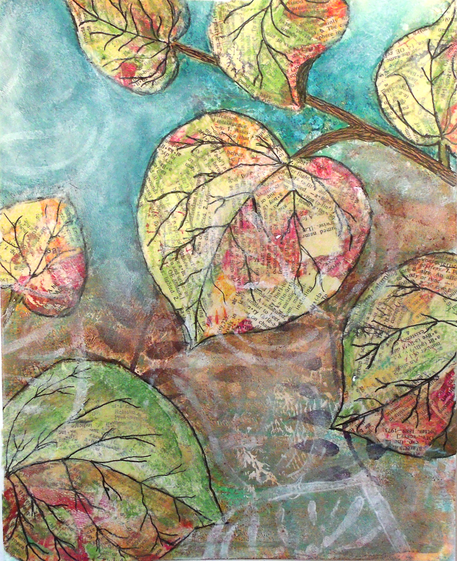 Torn paper collage - redbud leaves